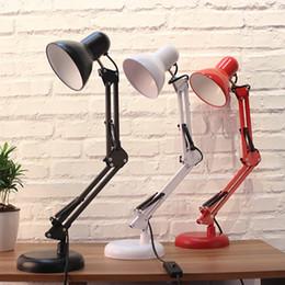 Moderno braccio oscillante online-Modern Long Swing Arm regolabile da tavolo classico Lampade E27 LED da tavolo Lampada da tavolo per studio Office Reading night Luce camera da letto comodino