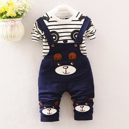 4fab1be922 2017 Baby Boys Clothing Sets Cartoon Bear Kids Clothes Cotton Overalls Suits  for Child Costume Kids Little Suit Shirt+pants 2pcs Bebe