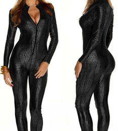 Mono de mujer Látex Catsuit Traje de discoteca Traje Fetish Sexy Linegerie Juego de uniformes de cuero Negro Wet Look Snake desde fabricantes