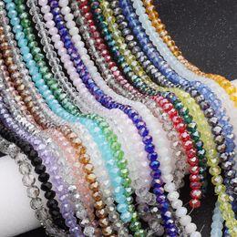 Cristal tallado cuentas de cristal online-Venta al por mayor 2/3/4/6 / 8mm Bicone Crystal Beads AB Color Cut Facetas redondas de vidrio para la joyería que hace la pulsera accesorios