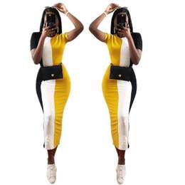 Argentina diseñador mujer ropa de verano colorido patchwork lápiz delgado maxi vestido de manga corta o-cuello casual tobillo clásico largo vestidos largos Suministro