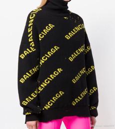 2019 grossistes en vêtements de sport 2019 B lettre Paris jacquard trous 19 nouvelle marque de mode filles cols roulés campagne de pull de rue populaire ## 886