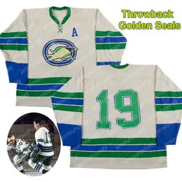 Juego usado camisetas de hockey online-Personalizado 1967-68 Kent Douglas Bert Marshall Juego de los Golden Seals de Oakland Jersey desgastado - Temporada inaugural - Photo Match Jerseys de hockey sobre hielo