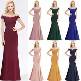 vestido de novia de la mujer simple Rebajas Vestidos formales largos y elegantes para mujer Vestidos de dama de honor sin espalda con hombros descubiertos Vestidos de fiesta de noche para invitados de boda CPS1080