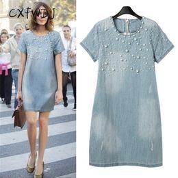2018 Plus Size Kleid Frauen Kleid Auch Oansatz Friesen Kurze Echte Top Mode Regelmäßige Jeans Sommer Stil Perlen Party Kleider Y190123 von Fabrikanten