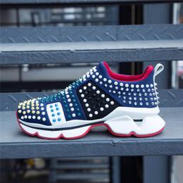 2019 Dernières baskets de modèle de marée, appartements à semelle rouge avec piques de Krystal, 30mm Noir et Blanc Donna Flat pour femmes hommes Taille 4.5-12 ? partir de fabricateur