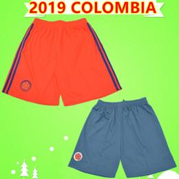 Футбольная команда апельсинов онлайн-Тайское качество Copa america 2019 Колумбия футбольные шорты мужские дома BLUE away ORANGE футбольные штаны сборная 19 20 FALCAO CUADRADO JAMES