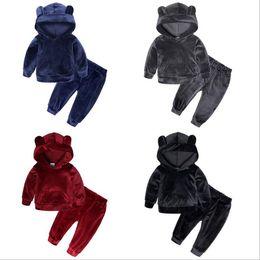 Set la maglietta felpata del ragazzo online-I bambini vestiti della neonata Set tuta Ragazzi Velvet Tops Felpa con cappuccio Tops pantaloni caldi 2pcs Cotton Outfit bambino copre gli insiemi