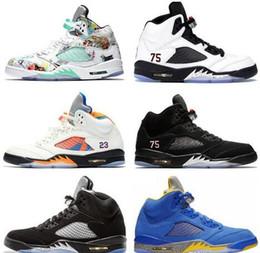 Scarpe sportive marche cina online-I nuovi uomini di pallacanestro Scarpe Sneakers 5 sport del Mens bianco olimpici 5s Cemento V-pong formatori Cina Marca all'ingrosso Zapatos US 8-13
