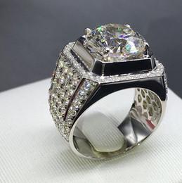 Grandes anillos de cristal online-Desigenr joyas de nido de abeja de cristal anillos anchos grandes anillos de circón para los hombres de moda caliente libre de envío