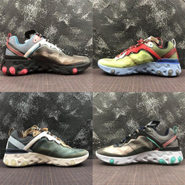 2019 New Chaussures UNDERCOVER x Upcoming React Element 87c Pack White Sneakers Brand Men Women NEPTUNE GREEN Designer Sports Shoes Tn Plus