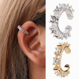 knochen ohrringe für frauen Rabatt 1 stücke Neue Mode Ohrclips Für Frauen Imitation Perle Kristall Hohl Uförmigen Ohr Knochen Manschette Unsichtbare Ohrschmuck