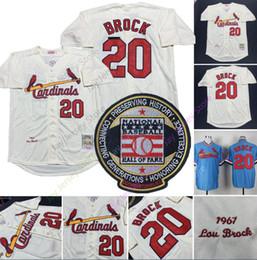 St cream online-Lou Brock Jersey 1967 Cooperstown Salón de la fama San Luis Béisbol Cardenales 20 Jerseys MN Cream Blue Local Visitante