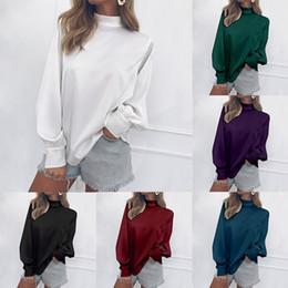 Turtleneck t-shirt weiblich online-Frauen Pullover Top Weibliche Lose Chiffonhemd Frauen Rollkragenpullover Stehkragen Laterne Hülse Solide T-shirt 32
