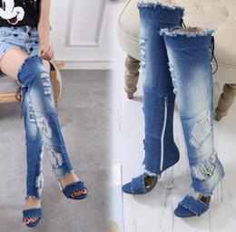 867c7468a9f8b Womens Ripped Denim Open Toe Blue Over Knee Boots Zapatos de tacón alto con  cordones Peep Toe azul verano S6 botas azules de punta abierta baratos