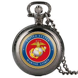 Rote uhren für jungen online-Mairne Corps Red Mens Coupons Taschenuhr Adler Muster Quarz Taschenuhr für Jungen Arabisch Digital Vintage Männer