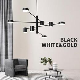 Modern Fashion Black Gold-weiße lange Led Decke Abgehängte  Leuchter-Licht-Lampe für Halle Küche Wohnzimmer Loft Schlafzimmer
