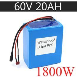Argentina 60V 20AH Batería de eBike de iones de litio a prueba de agua 60V 1000W 1800W Batería de scooter eléctrica EE. UU. UE AU Sin impuestos Suministro
