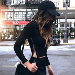 b8887adbcde Simenual Side zipper t-shirts for women streetwear 2019 autumn slim sexy  black female t-shirt crop top long sleeve tee shirt hot