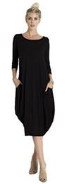 kokon langarm lose Rabatt Tabeez Damen Casual 3/4 Ärmel und Langarm Loose Bubble Jersey Shift Cocoon Midi Kleid (Hergestellt in den USA)