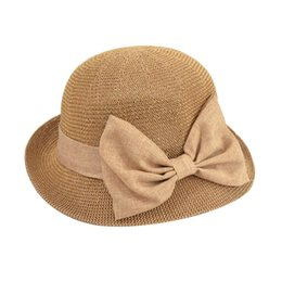 08863034130 hat block wholesale Canada - Lady Sun Hat Ribbon Round Top Straw Sun Block  UV Protection