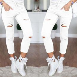weiße untere sporthose Rabatt Normallack zerstörte Hosen-Taillen-Gleichheit-dünne Hosen-Hosen-Bleistifthosen Art- und Weisefrauen-Kleidung-Schwarz-Weiß-Direktversand 220211