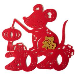 adesivi benedetti Sconti 2020 Chinese New Year Of Ratto Feltro muro Adesivi Adesivi Porta, non tessuto Festival di Primavera Benedizione Sticker per la decorazione domestica