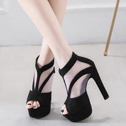ab883b88477f 15cm Sexy black meshy peep toe platform high heel ankle booties pumps shoes  womens designer sandals size 34 to 39 sexy 15cm heels for sale