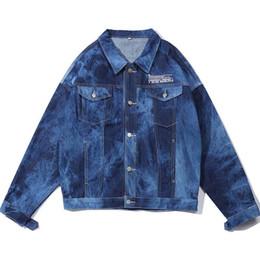 Krawatte jeans blau online-Mcikkny Fashion Herren Hip Hop Denim Jacken Vintage Tie Dye Jean Jacken Streetwear Für Herren Blau Schwarz