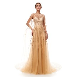 tulle sleeve aso ebi dresses Promo Codes - Aso Ebi Sexy Champagne Prom Dress Lace Mermaid Floor Length Party Gowns Cap Sleeves Short Sleeves Tiers Skirt Evening Dresses