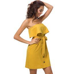 Argentina Buena calidad Vestido de verano para mujer 2019 Sexy Nuevo algodón y lino Vestidos de vendaje Volantes envuelto en el pecho Vestido de verano amarillo Midi de las mujeres supplier yellow linen dresses Suministro
