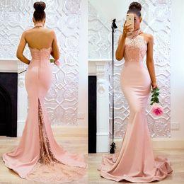 2019 cortar vestido de ilusão Halter Sereia Prom Vestido 2019 Sexy Aberto de Volta Vestido de Noite Com Apliques de Renda Meninas Formais Vestidos de Festa Em Estoque
