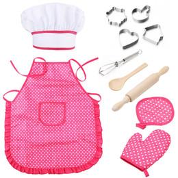 Wholesale 11 Stücke Kinder Kochen Backen Set Schürze für Kleine Mädchen Chef Hut Mitt Utensil für Kleinkind Dress Up Chef Kostüm Rollenspiel