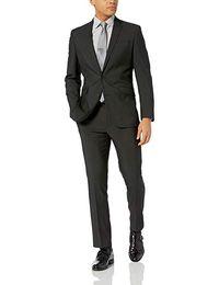 Черные свадебные костюмы на заказ для мужчин Воротник с надрезом Slim Fit 2 шт. (Куртка с брюками) Свадебные костюмы для смокинга выпускного вечера от
