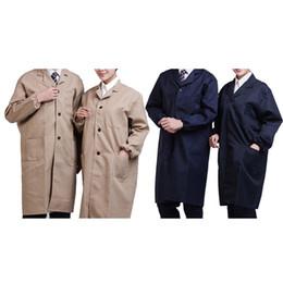 Abiti uniformi infermiere online-KLV unisex a maniche lunghe cappotto del laboratorio Tasche Medical Uniform abbigliamento da lavoro, Medico, Infermiere Abbigliamento Maglia a manica lavoro di laboratorio completa Coat