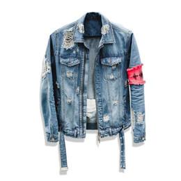 Men 'S Jean Jacket Street Hip Hop Flight Jeansjacke Männer Marke zerrissene Denim beiläufige Art und Weise Jacket Men M 2XL