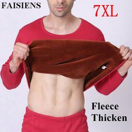 Plus Size 5XL 6XL 7XL 2018 Homens Inverno Engrossar Velo Térmico Long Johns Vermelho Sólido Preto Homem Quente T Shirt + Cintura Alta Calças Conjuntos de