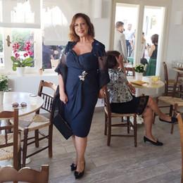 vintage line square Rabatt Vintage Tee Länge Dark Navy Mutter der Braut Bräutigam Kleid A Line Square Neck Cap Sleeve mit Wrap Falten Mutter formale Abendkleider