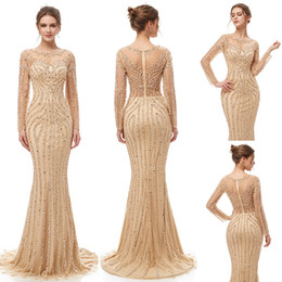 beaded lace bridesmaid dresses Coupons - 2019 Elegant Champagne Luxury Beaded crystal Mermaid Evening Dresses yousef aljasmi Robe De Soiree sheer tulle neck arabic Prom Formal Gowns