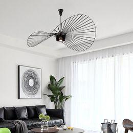 2019 bricolagem suspensão lâmpada pendente moderno simples vertigem lustre / E27 quarto / sala de jantar / chapéu decorativo sala chapéu de palha lustre candelabro