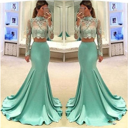 2019 maniche romantiche di abiti da sera Illusion Mermaid Due pezzi Prom Dresses Abiti da sera Sheer High Neck Manica lunga Celebrity Pageant Formal Wear Romantic Girl Party Dress maniche romantiche di abiti da sera economici