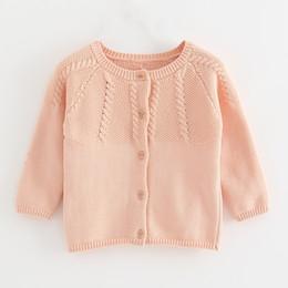 Jaqueta rosa de outono meninas on-line-Rosa Sweater crianças Cardigan Plain Red Yellow Jacket Meninas 1 2 3 anos 2019 Primavera Outono Inverno da menina da criança Roupa 195007