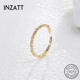 punk minimalist Promo Codes - INZAReal 925 Sterling Silver Hollow Trendy Opening Ring For Charming Women Party Punk Fine Jewelry Minimalist Accessories