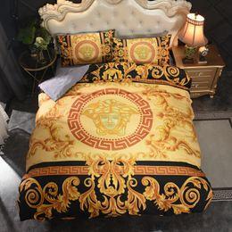 Conjunto de cama dourada on-line-Cama dourado completamente Define New Bedding Sets Para Four Seasons Retro Figura Cama Sets Tampa 4 peças impressas cama Suprimentos