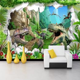 2020 pintura de dinossauro Dinosaur papel de parede Foto Desenhos animados Mural 3D Floresta Paisagem Wallpaper Crianças Quarto restaurante criativo Pintura Pano de fundo desconto pintura de dinossauro