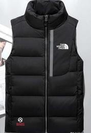 Chalecos masculinos online-Hombres calientes chaqueta abajo Chaleco norte Masculinos Chaquetas deportivas Bomber Collar Cremalleras Cara exterior Abrigos