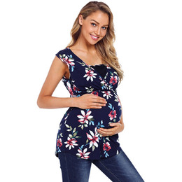 fbd06e6dda6bb Maternity Clothes Printed Pregnant Women Tops Vest Breastfeeding T-Shirt  V-neck Sleeveless Loose Floral Mosaic Pattern Vest 61