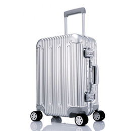 carry bags Coupons - 100% Metal Luggage Aluminum Alloy Carry-Ons Rolling Luggage Suitcase High Strength Bag TSA Unlock Silver 20 Inch