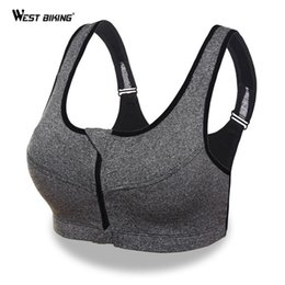 2020 zipper front sports sutiã WEST BIKING Mulheres Yoga Bra Gym Frente aptidão Zipper Bra Shakeproof respirável Push Up alças acolchoado Correndo Sports zipper front sports sutiã barato