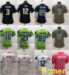 ff024f6f4 Women Seattle Jerseys 3 Russell Wilsons Seahawks 12 th FAN 89 Doug Baldwin  16 Tyler Lockett Free Drop Shipping Ladies Size S-2XL
